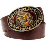 Fashion wild men belts metal buckle retro big head belt Indian chief western style belt hip hop Street Dance exaggerated belt - Hespirides Gifts - 3