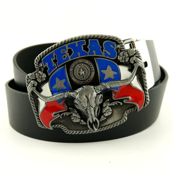 cinturon hombre fashion belts western belt buckle with TEXAS COW HEAD cowboy belt -removable -buckle Pu leather belt in jeans - Hespirides Gifts - 2