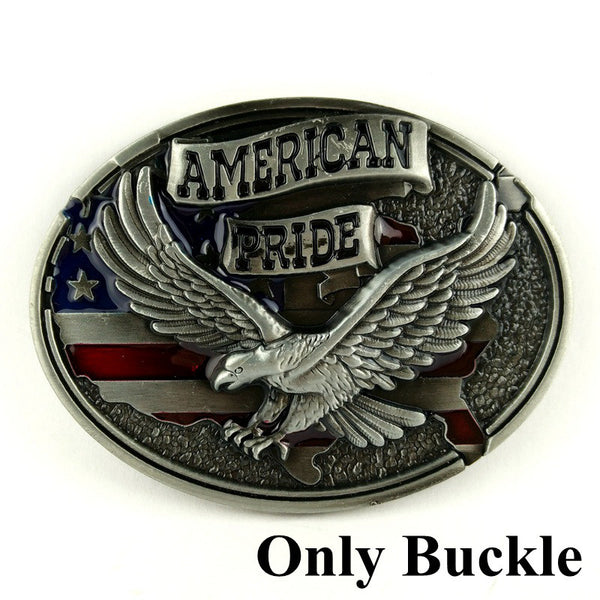 Retail wholesale western belt buckles fashion cowboy belt buckle American pride eagle Silver color belt buckle 40mm Accessories - Hespirides Gifts - 2
