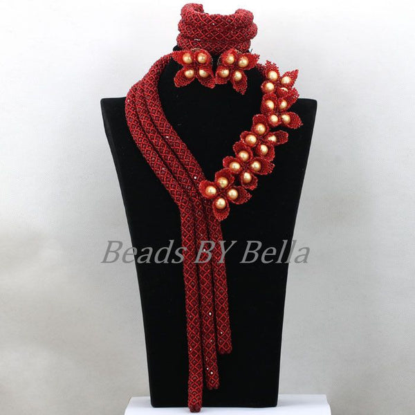 Luxury Flowers African Costume Jewelry Sets Burgundy Wine Crystal Nigerian Wedding Beads Statement Necklace ABK585 - Hespirides Gifts - 2