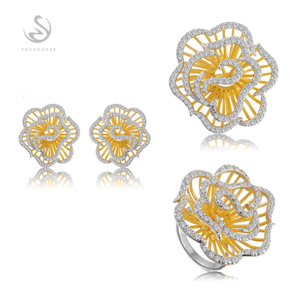 New pattern 925 sterling silver jewelry set(ring/earring/pendant) White Cubic Zirconia Shinning Recommend S--3792sets sz6 7 8 9 - Hespirides Gifts