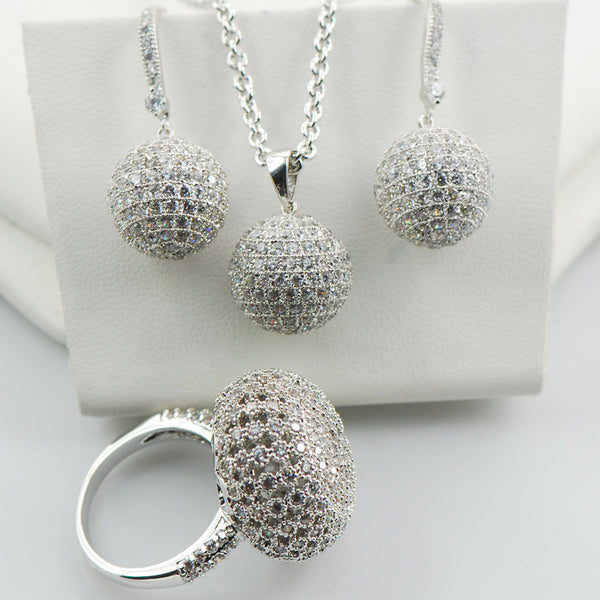 Shiny Fashion Ring&Pendant&Earrings Set For Women 925 Sterling Silver Jewelry Set TT583 - Hespirides Gifts