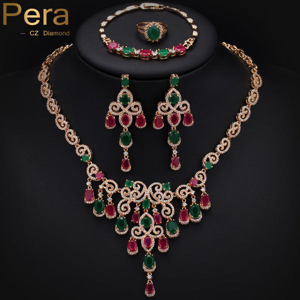 Luxury 18K Gold Plated Big Cluster Flower Drop Ruby And Emerald Stone African Women Costume 4Pcs Jewelry Sets For Wedding J149 - Hespirides Gifts - 2