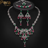 Luxury 18K Gold Plated Big Cluster Flower Drop Ruby And Emerald Stone African Women Costume 4Pcs Jewelry Sets For Wedding J149 - Hespirides Gifts - 3