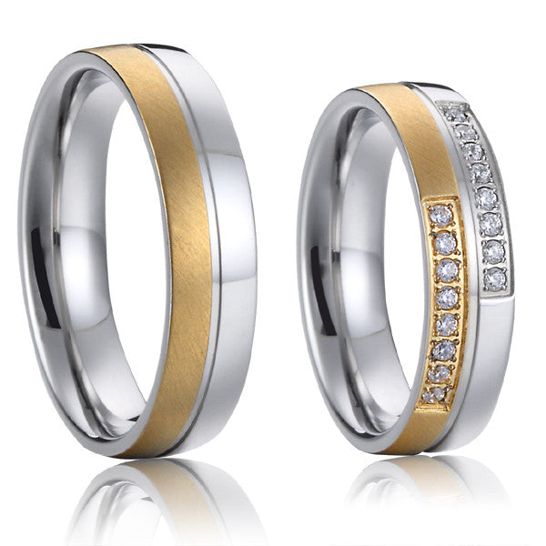 Top Quality Lifetime Collection Handmade 18k gold plated titanium matching wedding couples promise rings sets alliance - Hespirides Gifts