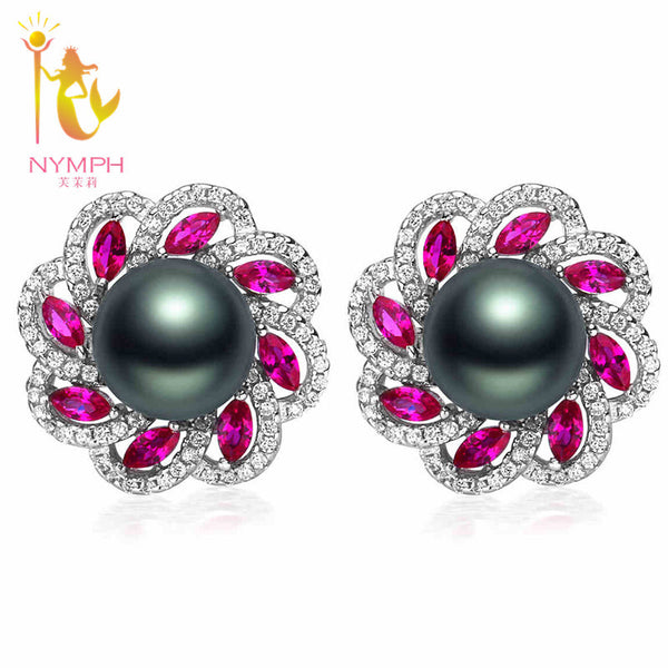 NYMPH Natural Tahitian pearl earrings ,9-10mm Perfectly round black Pearl stud earring TH003 - Hespirides Gifts