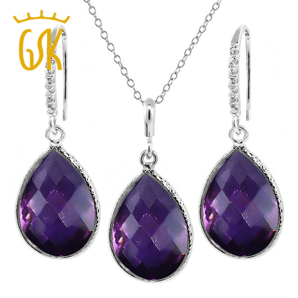 "GemStoneKing 19.50 Ct Faceted Amethyst Women Jewelry Sets Pear Shape 925 Sterling Silver Pendant and Earrings Set 18"" Chain - Hespirides Gifts"