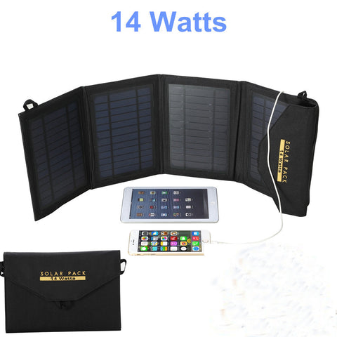 2016 NEW 10W Portable Foldable USB Solar Battery Charger Power Bank For iPhone 6 Phone Pad Black - Hespirides Gifts