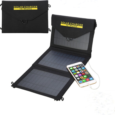 NEW 10W Portable Foldable USB Solar Battery Charger Power Bank For iPhone 6 Phone Pad Black - Hespirides Gifts