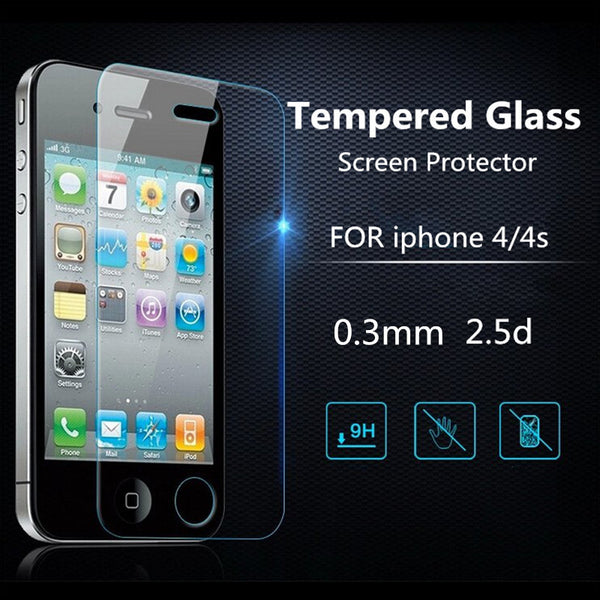 Ultra Thin 0.26 mm 2.5D Premium Tempered Glass Screen Protector For iPhone 4 4s HD Toughened Protective Film + Cleaning Kit - Hespirides Gifts