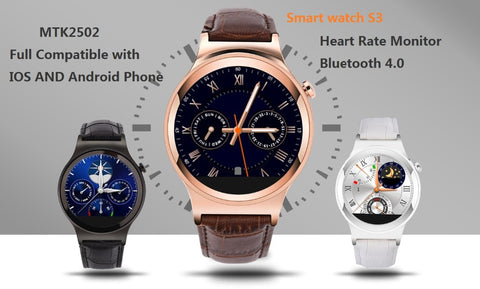 Bluetooth smart watch S3 round screen IPS Bluetooth 4.0 SmartWatch compatible with Android and IOS Heart rate monitor - Hespirides Gifts - 1