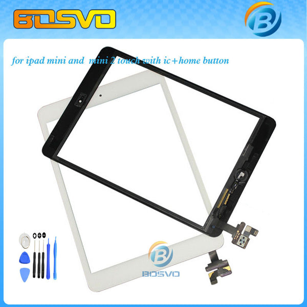 Touch screen for ipad mini or mini 2 digitizer glass lcd panel +home buttom with ic connector 1 piece + 3M sticker - Hespirides Gifts
