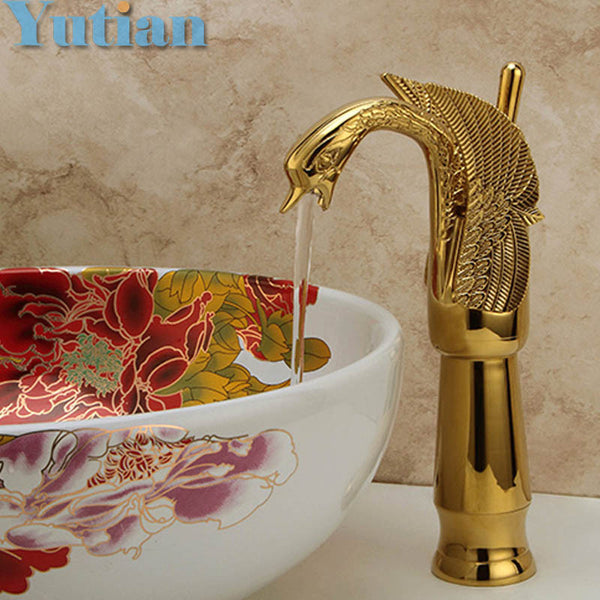 New Design Luxury Copper hot and cold sink taps Swan faucet Gold plated wash basin faucet Mixer Taps,torneira - Hespirides Gifts