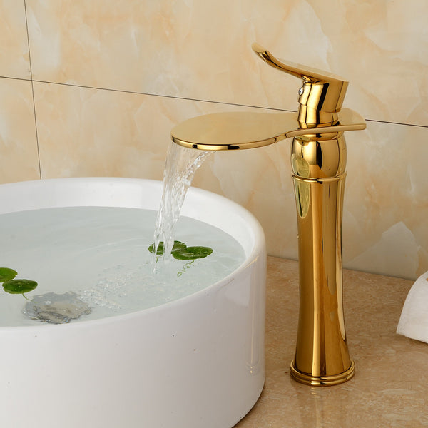 Luxury Deck Mount One Handle Basin Sink Gold Bathroom Faucets Faucet Golden Brass Bathroom Vanity Sink Mixer Taps B-1095M - Hespirides Gifts