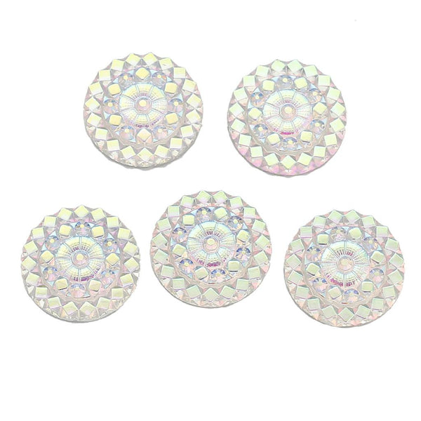 "Resin Embellishments Findings Round White AB Color Flower Pattern Faceted 20.0mm( 6/8"") Dia, 1 Piece new - Hespirides Gifts"