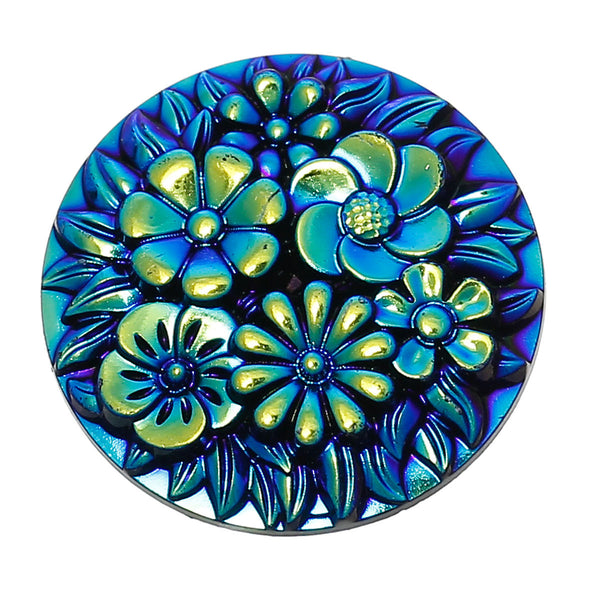 "Resin Embellishments Findings Round Blue AB Color Flower Pattern 26.0mm(1"") Dia, 1 Piece new - Hespirides Gifts"