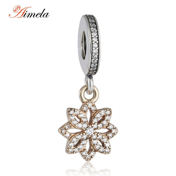Real 14k Solid Gold Pave CZ Lace Flower Dangle Charm Beads European Fine Sterling Silver Jewelry For Women Charm Bracelets DIY - Hespirides Gifts