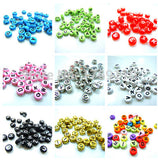 U Pick 18 Colors 100pcs 4*7mm Mixed Coin Alphabet Letter Beads Acrylic Spacer Beads For Loom Band Bracelet - Hespirides Gifts - 1