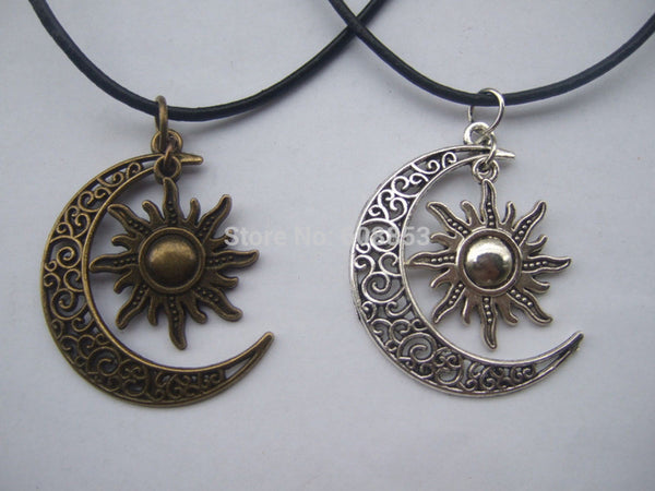 "Fashion Crescent Moon And Sun Charm Pendant Black Leather Boho Colar Hippie Necklace 18"" - 26"" - Hespirides Gifts"