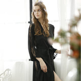 Noble Elegant Imitation Silk Bathrobes Women Lace Patchwork Long Sleeve Robes Female Summer Sleepwear Night-robe - Hespirides Gifts - 1