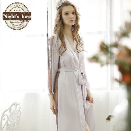 Noble Elegant Imitation Silk Bathrobes Women Lace Patchwork Long Sleeve Robes Female Summer Sleepwear Night-robe - Hespirides Gifts - 2