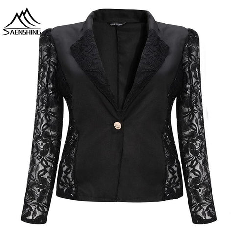 Spring Lace Sexy Women Blazers And Jackets Slim Long Sleeve Blazer Feminino Single Breasted Chaquetas Mujer Work Wear Hi-Q - Hespirides Gifts - 1