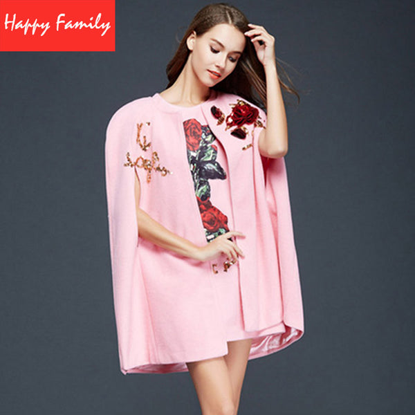Luxury Set 3D Flowers Fashion Runway Women's Elegant Letters Sequins Cloak + Vest Mini Dress Pink / Black Autumn Set - Hespirides Gifts