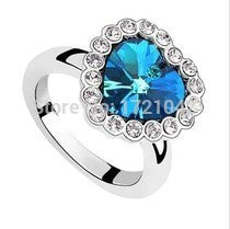 the influx of people to the Titanic Heart of Ocean Blue imitation gemstones Crystal wedding rings for women - Hespirides Gifts