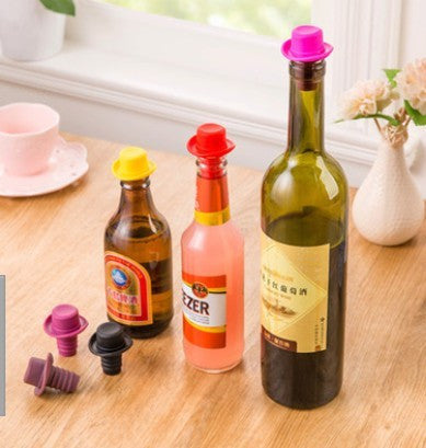Food-grade silicone Small hat Bottle stopper Red wine stopper 1939chm - Hespirides Gifts