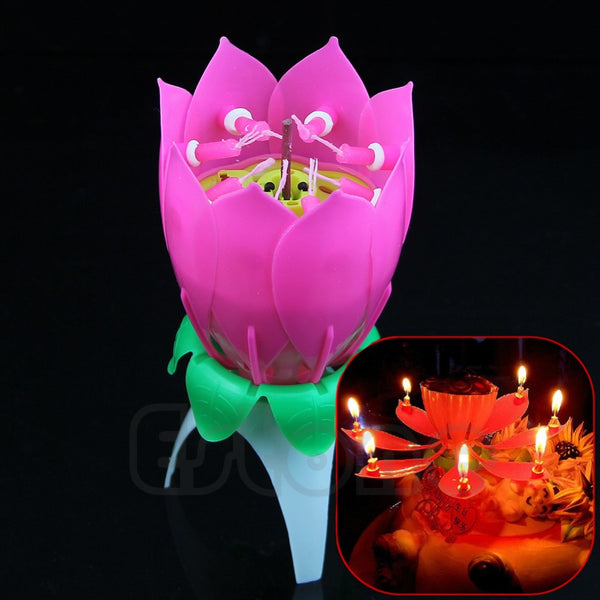 New Romantic Musical Lotus Flower Happy Birthday Party Gift Candle Lights - Hespirides Gifts
