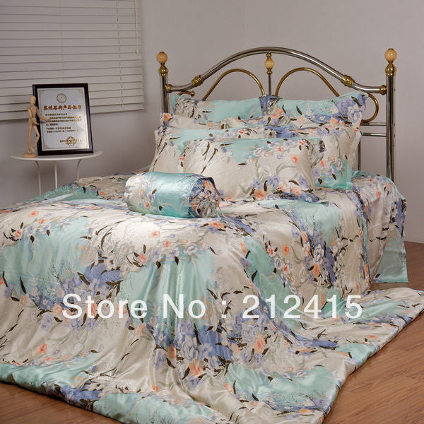 fast by DHL EMS TNT/4pcs luxurious mulberry silk bedding set/pure print soft silk /ls2107 - Hespirides Gifts