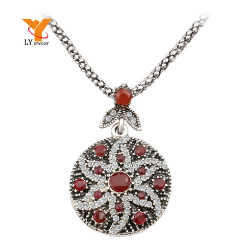 HOT LY Vintage Ruby Jewelry Round Boho Necklace For Women Mosaic Crystal Ocean Star Jewelry Wholesale - Hespirides Gifts