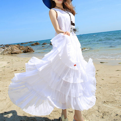Women Summer Dress Boho White Beach Dress Sleeveless High Waist Casual Maix Party Dress Vestidos Femininos Chiffon Dress - Hespirides Gifts - 1