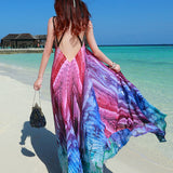 Fashion Women Dress Vintage Vestidos Bohemian Women Maxi Dress Sexy Backless Peacock Printing Long Dress Boho Beach Dress - Hespirides Gifts - 2