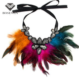 Women Feather Collar Necklace Boho Jewelry Glass Gems Big Choker Statement Necklaces & Pendants Accessories Trendy CE3700 - Hespirides Gifts - 1
