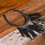 Bohemian fringe necklace women Boho vintage silver Neck Dramatic Suede Long Tassel Chain Resin Turquoise pendant Ethnic Necklace - Hespirides Gifts - 2