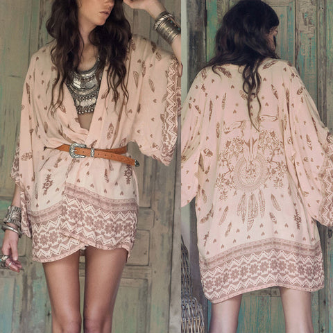 Boho Printed Chiffon Loose Kimono Cardigan Fashion Women Blouse Shirt Brand Tops Batwing Sleeve #NS377 - Hespirides Gifts