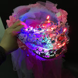 Sweet Girls Women Bridal LED Light up Princess Crown Lace Flower Headband Hairband Wedding Veil Party Garland Boho Style Gift - Hespirides Gifts - 1