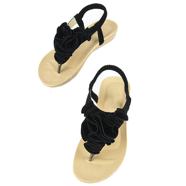 Women Bohemia Boho Floral Flower Flat Shoes Beach Sandal Slipper Flip Flop WS029 - Hespirides Gifts - 2