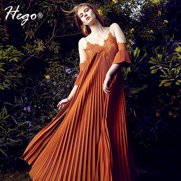 Hego New Pleated Bohemian Loose Lace V-Neck Off The Shoulder Chiffon Summer Dress Sexy Costumes Boho Dress - Hespirides Gifts