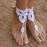 Boho Sandals Women Anklets Barefoot Sandals Foot Jewelry Cotton Knitting Crochet Beachwear Sandy Foot Accessories Sport Footwear - Hespirides Gifts - 1