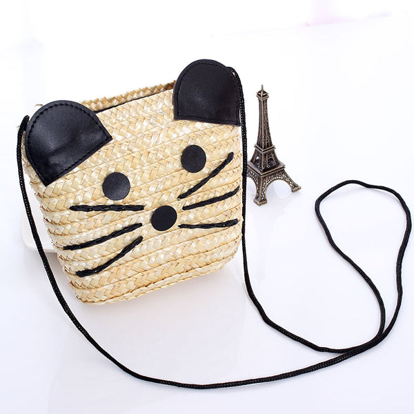 Newest Cute Cartoon Woven Shoulder Mini Bags Straw Summer Women Weave Crossbody Pouches Ladies Small Beach Handbag G0741 - Hespirides Gifts - 2