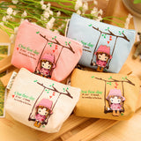 New Kawaii Girl Swinging Creative Canvas Purse Scattered Wallet Admission Package HandBags Coin Purse Key Cases - Hespirides Gifts - 1