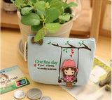 New Kawaii Girl Swinging Creative Canvas Purse Scattered Wallet Admission Package HandBags Coin Purse Key Cases - Hespirides Gifts - 5