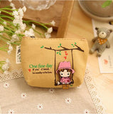 New Kawaii Girl Swinging Creative Canvas Purse Scattered Wallet Admission Package HandBags Coin Purse Key Cases - Hespirides Gifts - 3