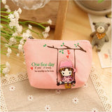New Kawaii Girl Swinging Creative Canvas Purse Scattered Wallet Admission Package HandBags Coin Purse Key Cases - Hespirides Gifts - 2
