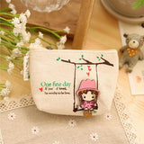 New Kawaii Girl Swinging Creative Canvas Purse Scattered Wallet Admission Package HandBags Coin Purse Key Cases - Hespirides Gifts - 4