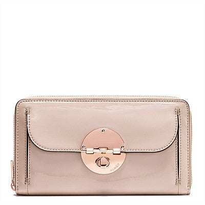 CLASSIC MIMCO ROSE GOLD turnlock travel wallet pancake petent leather travel wallet - Hespirides Gifts