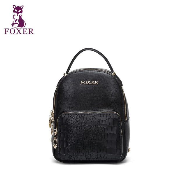 Women bag New FOXER brand women genuine leather backpack fashion quality women cowhide leisure backpack mini small bag - Hespirides Gifts