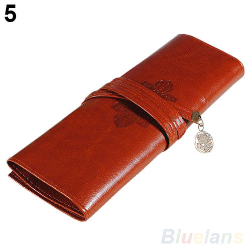 Vintage Retro Roll Leather Make up Cosmetic Pen Pencil Case Pouch Purse Bag 02PT 4OIZ - Hespirides Gifts - 4